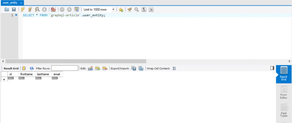 Widok bazy danych pousunięciu użytkownika